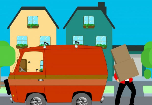 Animated man carrying a box, next to his van and new home.