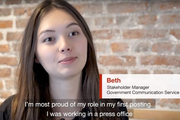 Image of Beth from a Fast Stream promotional video